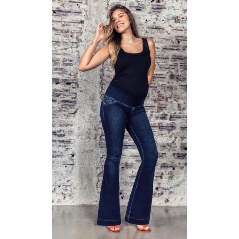 73bddfe21c2eb8 Calça Jeans Gestante Flare. Emma Fiorezi. 1117