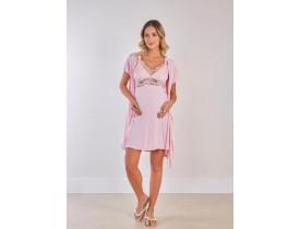 Conjunto Camisola Amamentação e Robe Rosa Delicate. BS. 230254/280024