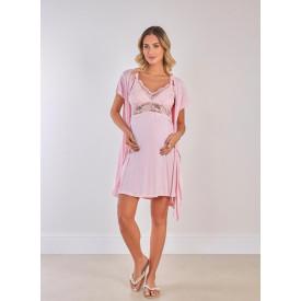 Conjunto Camisola Amamentação e Robe Rosa Delicate