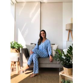 Pijama Longo Estampado Poá Azul
