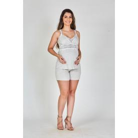 Short Doll Amamentação Mescla Cinza/Renda Branca